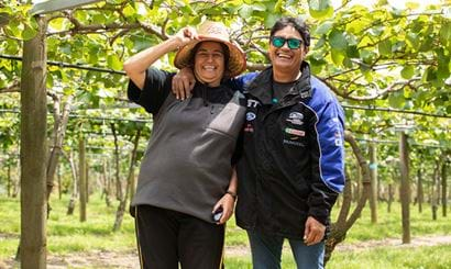 Two women laughing together at an orchard.