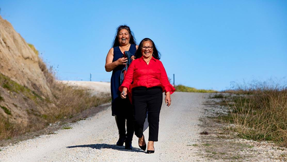 Two women walking down a road laughing together.